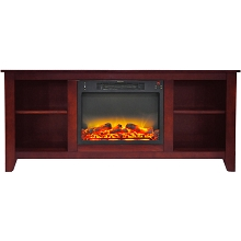 Cambridge Santa Monica 63 In. Electric Fireplace & Entertainment Stand in Cherry with Enhanced Log Display - CAM6226-1CHRLG2