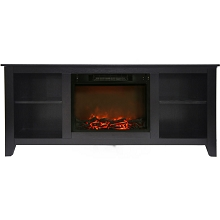 Cambridge Santa Monica 63 In. Electric Fireplace & Entertainment Stand in Black Coffee w/ 1500W Charred Log Insert - CAM6226-1COF