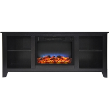 Cambridge Santa Monica 63 In. Electric Fireplace & Entertainment Stand in Black Coffee w/ Multi-Color LED Insert - CAM6226-1COFLED