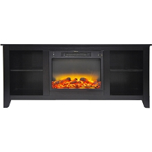 Cambridge Santa Monica 63 In. Electric Fireplace & Entertainment Stand in Black Coffee with Enhanced Log Display - CAM6226-1COFLG2