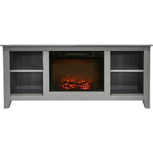 Cambridge Santa Monica 63 In. Electric Fireplace & Entertainment Stand in Gray w/ 1500W Charred Log Insert - CAM6226-1GRY