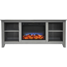 Cambridge Santa Monica 63 In. Electric Fireplace & Entertainment Stand in Gray w/ Multi-Color LED Insert - CAM6226-1GRYLED