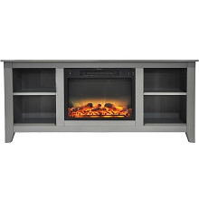 Cambridge Santa Monica 63 In. Electric Fireplace & Entertainment Stand in Gray with Enhanced Log Display - CAM6226-1GRYLG2