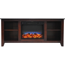Cambridge Santa Monica 63 In. Electric Fireplace & Entertainment Stand in Mahogany w/ Multi-Color LED Insert -CAM6226-1MAHLED