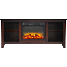 Cambridge Santa Monica 63 In. Electric Fireplace & Entertainment Stand in Mahogany with Enhanced Log Display - CAM6226-1MAHLG2