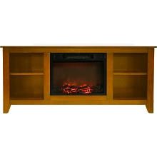 Cambridge Santa Monica 63 In. Electric Fireplace & Entertainment Stand in Teak w/ 1500W Charred Log Insert - CAM6226-1TEK