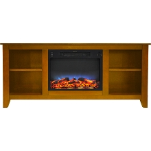 Cambridge Santa Monica 63 In. Electric Fireplace & Entertainment Stand in Teak w/ Multi-Color LED Insert - CAM6226-1TEKLED
