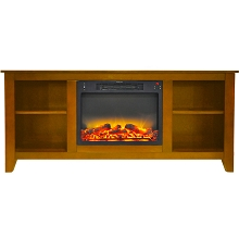 Cambridge Santa Monica 63 In. Electric Fireplace & Entertainment Stand in Teak with Enhanced Log Display - CAM6226-1TEKLG2