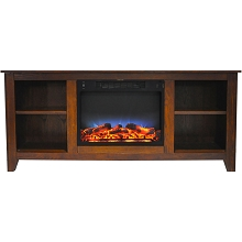 Cambridge Santa Monica 63 In. Electric Fireplace & Entertainment Stand in Walnut w/ Multi-Color LED Insert - CAM6226-1WALLED