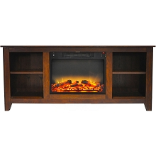 Cambridge Santa Monica 63 In. Electric Fireplace & Entertainment Stand in Walnut with Enhanced Log Display - CAM6226-1WALLG2