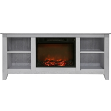 Cambridge Santa Monica 63 In. Electric Fireplace & Entertainment Stand in White w/ 1500W Charred Log Insert - CAM6226-1WHT