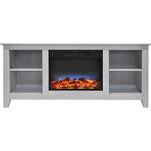 Cambridge Santa Monica 63 In. Electric Fireplace & Entertainment Stand in White w/ Multi-Color LED Insert - CAM6226-1WHTLED