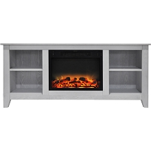 Cambridge Santa Monica 63 In. Electric Fireplace & Entertainment Stand in White with Enhanced Log Display - CAM6226-1WHTLG2