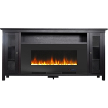 Cambridge Somerset 70-In. Black Electric Fireplace TV Stand with Multi-Color LED Flames, Crystal Rock Display, and Remote Control, CAM6938-1COF