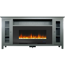 Cambridge Somerset 70-In. Gray Electric Fireplace TV Stand with Multi-Color LED Flames, Crystal Rock Display, and Remote Control, CAM6938-1GRY
