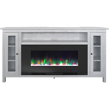 Cambridge Somerset 70-In. White Electric Fireplace TV Stand with Multi-Color LED Flames, Crystal Rock Display, and Remote Control, CAM6938-1WHT