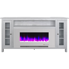 Cambridge Somerset 70-In. White Electric Fireplace TV Stand with Multi-Color LED Flames, Crystal Rock Display, and Remote Control, CAM6938-1WW