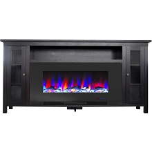 Cambridge Somerset 70-In. Black Electric Fireplace TV Stand with Multi-Color LED Flames, Driftwood Log Display, and Remote Control, CAM6938-2COF