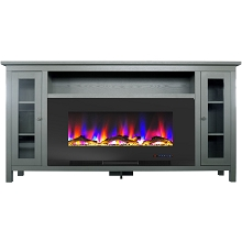 Cambridge Somerset 70-In. Gray Electric Fireplace TV Stand with Multi-Color LED Flames, Driftwood Log Display, and Remote Control, CAM6938-2GRY