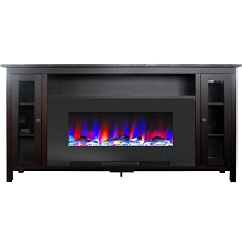 Cambridge Somerset 70-In. Mahogany Electric Fireplace TV Stand with Multi-Color LED Flames, Driftwood Log Display, and Remote Control, CAM6938-2MAH