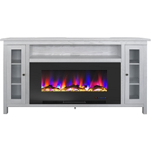 Cambridge Somerset 70-In. White Electric Fireplace TV Stand with Multi-Color LED Flames, Driftwood Log Display, and Remote Control, CAM6938-2WHT