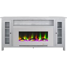 Cambridge Somerset 70-In. White Electric Fireplace TV Stand with Multi-Color LED Flames, Driftwood Log Display, and Remote Control, CAM6938-2WW