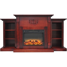 Cambridge Sanoma 72 In. Electric Fireplace in Cherry with Bookshelves and Enhanced Log Display - CAM7233-1CHRLG2