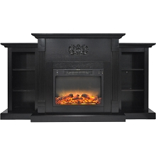 Cambridge Sanoma 72 In. Electric Fireplace in Black Coffee with Built-in Bookshelves and an Enhanced Log Display - CAM7233-1COFLG2