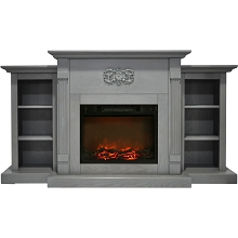 Cambridge Sanoma 72 In. Electric Fireplace in Gray with Built-in Bookshelves and a 1500W Charred Log Insert - CAM7233-1GRY