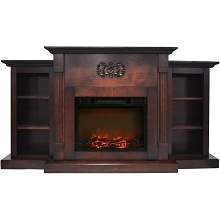 Cambridge Sanoma 72 In. Electric Fireplace in Mahogany with Built-in Bookshelves and a 1500W Charred Log Insert - CAM7233-1MAH