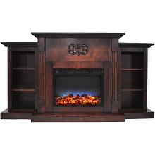 Cambridge Sanoma 72 In. Electric Fireplace in Mahogany with Built-in Bookshelves and a Multi-Color LED Flame Display - CAM7233-1MAHLED