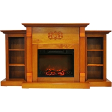 Cambridge Sanoma 72 In. Electric Fireplace in Teak with Built-in Bookshelves and a 1500W Charred Log Insert - CAM7233-1TEK