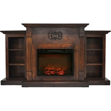 Cambridge Sanoma 72 In. Electric Fireplace in Walnut with Built-in Bookshelves and a 1500W Charred Log Insert - CAM7233-1WAL