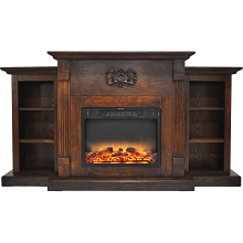 Cambridge Sanoma 72 In. Electric Fireplace in Walnut with Built-in Bookshelves and an Enhanced Log Display - CAM7233-1WALLG2