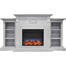 Cambridge Sanoma 72 In. Electric Fireplace in White with Built-in Bookshelves and a Multi-Color LED Flame Display - CAM7233-1WHTLED