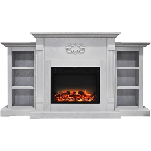 Cambridge Sanoma 72 In. Electric Fireplace in White with Built-in Bookshelves and an Enhanced Log Display - CAM7233-1WHTLG2