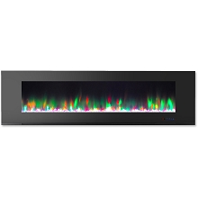 Cambridge 72 In. Wall-Mount Electric Fireplace in Black with Multi-Color Flames and Crystal Rock Display - CAM72WMEF-1BLK