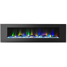 Cambridge 72 In. Wall-Mount Electric Fireplace in Black with Multi-Color Flames and Driftwood Log Display - CAM72WMEF-2BLK