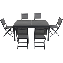 Hanover Cameron 7-Piece Expandable Dining Set with 6 Folding Sling Chairs and a 40