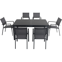 Hanover Cameron 7-Piece Expandable Dining Set with 6 Sling Dining Chairs and a 40