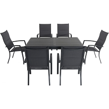 Hanover Cameron 7-Piece Expandable Dining Set with 6 Padded Sling Dining Chairs and a 40