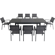Hanover Cameron 9-Piece Expandable Dining Set with 8 Sling Dining Chairs and a 40