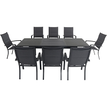 Hanover Cameron 9-Piece Expandable Dining Set with 8 Padded Sling Dining Chairs and a 40