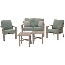 Mod Furniture Canyon 5-Piece Modern Farmhouse Outdoor Furniture Chat Set w/ All-Weather Aluminum Frames, Plush Cushions & Toss Pillows, CANYON5PC-SPR
