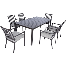 Mod Carter 7-Piece Dining Set with 6 Pewter Grey Padded Dining Chairs and 72 in. x 40 in. Slat Table, CARTDN7PC-GRY