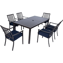 Mod Carter 7-Piece Dining Set with 6 Navy Padded Dining Chairs and 72 in. x 40 in. Slat Table, CARTDN7PC-NVY