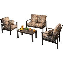Hanover Cedar Ranch 4 pc Set: 2 Camo Chairs, Loveseat, and Coffee Table, CDRNCH4PC-CMO