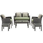 Chelsea 6PC Patio Set in Avocado Green - CHEL-6PC-GRN