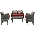 Chelsea 6PC Patio Set in Crimson Red - CHEL-6PC-RED