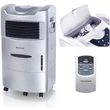 Honeywell 470-659 CFM Indoor Evaporative Air Cooler (Swamp Cooler) with Remote Control in Silver -